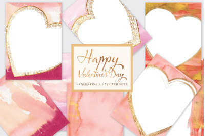 Happy Valentine's Day* Printable Watercolor Cards