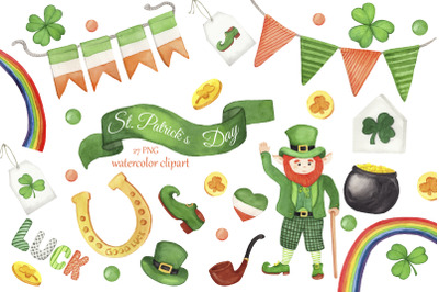 St. Patricks Day watercolor clipart, Irish clipart, lucky shamrock, four leaf clipart