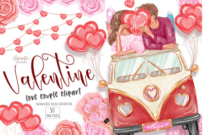 Valentine's day clipart, love couple clipart