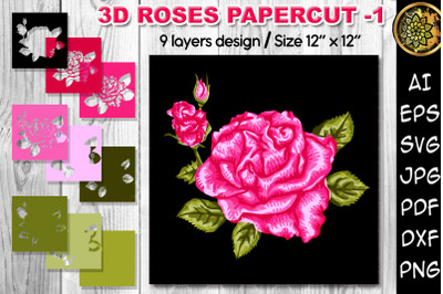 3D Valentine Roses Multi-layered Flowers Papercut - 1