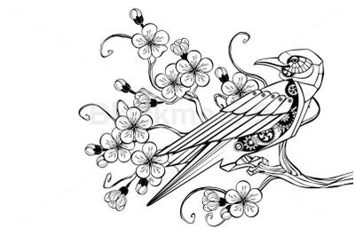 Outline Mechanical Bird Steampunk