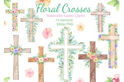 Watercolor Easter Cross Clipart Floral crosses digital card flowers