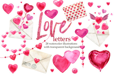Love letters, Valentines Day clipart