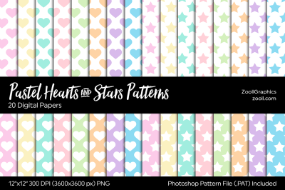 Pastel Hearts And Stars Digital Papers