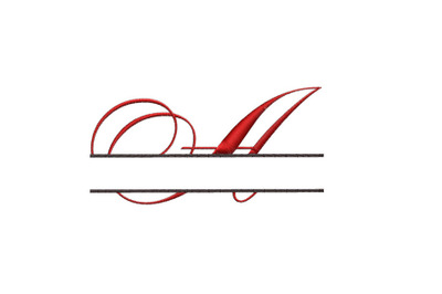 Split Monogram Embroidery design Letter A