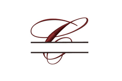 Split Monogram Embroidery design Letter C