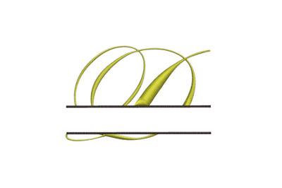 Split Monogram Embroidery design Letter D