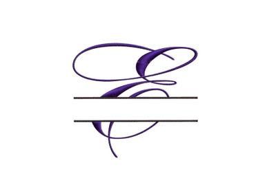 Split Monogram Embroidery design Letter E