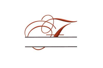 Split Monogram Embroidery design Letter F