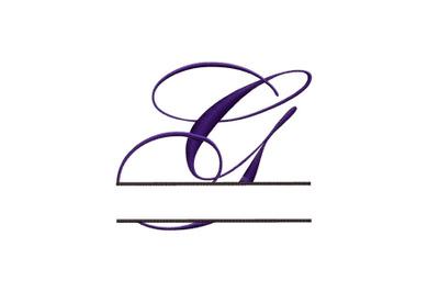 Split Monogram Embroidery design Letter G