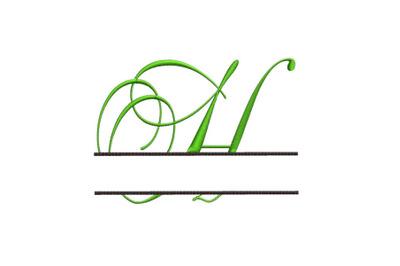 Split Monogram Embroidery design Letter H
