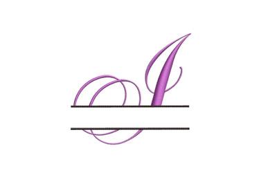 Split Monogram Embroidery design Letter I