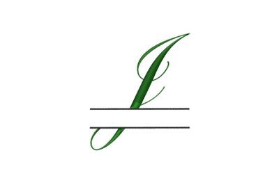 Split Monogram Embroidery design Letter J
