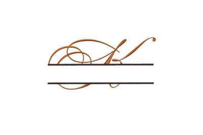Split Monogram Embroidery design Letter K