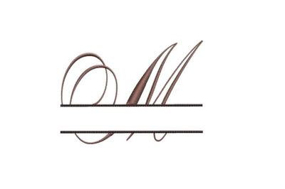 Split Monogram Embroidery design Letter M