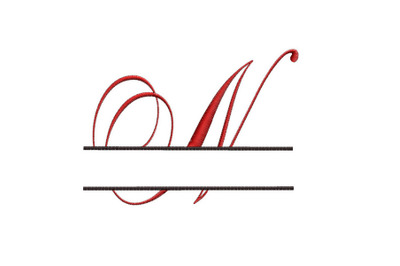 Split Monogram Embroidery design Letter N