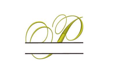 Split Monogram Embroidery design Letter P