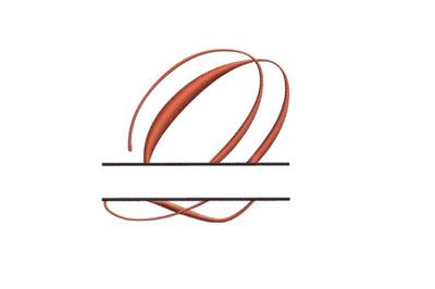 Split Monogram Embroidery design Letter Q