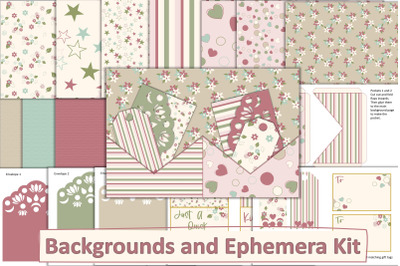 Ephemera Kit with Free Backgrounds