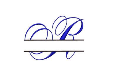 Split Monogram Embroidery design Letter R