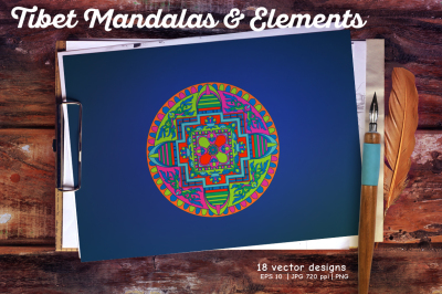 Colored Tibet Mandalas & Elements