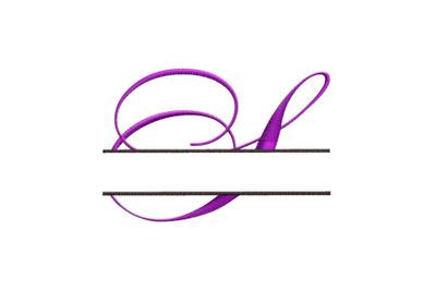 Split Monogram Embroidery design Letter S