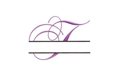 Split Monogram Embroidery design Letter T