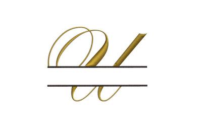 Split Monogram Embroidery design Letter U