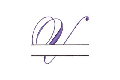 Split Monogram Embroidery design Letter V