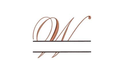 Split Monogram Embroidery design Letter W
