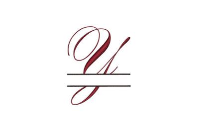 Split Monogram Embroidery design Letter Y