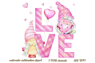 Valentine's Gnomes PNG, Watercolor clip art, Sublimation Graphics, Ins