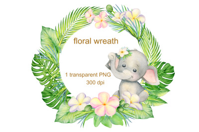 Watercolor Little Elephant clipart. Cute girl elephant and pink flower