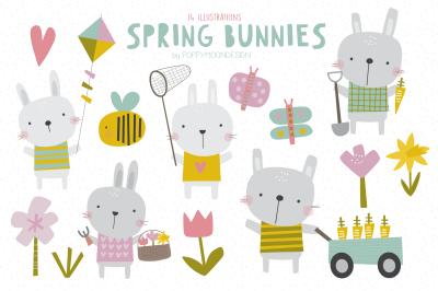 Spring bunnies clipart set