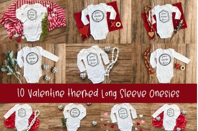 Valentine Long Sleeve Onesie Mockup Bundle