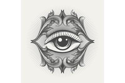 All Seeing Eye Engraving Illustration