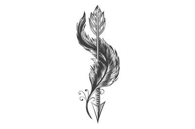 Indian Arrow and Bird Feather Tattoo