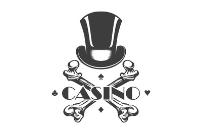 Casino Emblem with Cylinder Hat and Bones