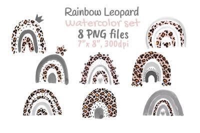 Leopard Rainbow Neutral Watercolor Clip Art