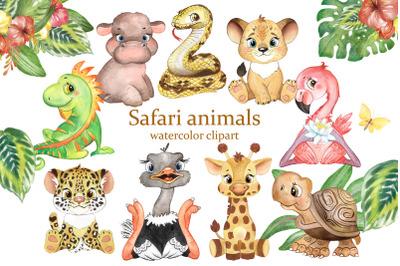 Safari animals clipart. Jungle animal. Watercolor African animals.