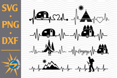 Camping Heartbeat SVG, PNG, DXF Digital Files Include