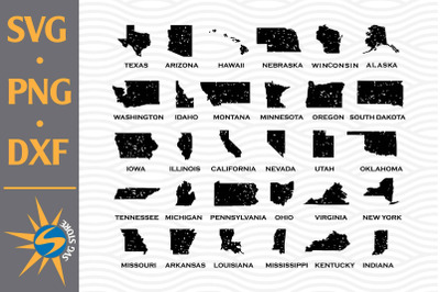 Distressed American State SVG, PNG, DXF Digital Files Include