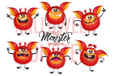 Cartoon funny monsters emotions set. Vector illustration