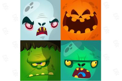 Funny cartoon monsters face square avatars set