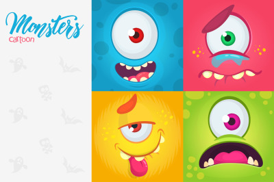 Funny cartoon monsters face square avatars set. Vector