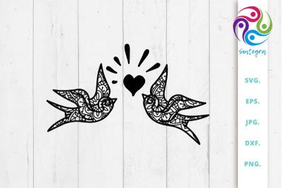 Zen Tangle Valentine Bird Svg File