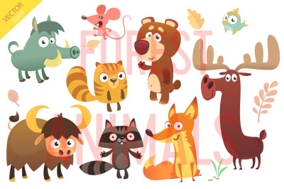 Cartoon forest animals set. Vector illustration