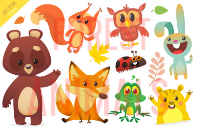 Cartoon forest animals. Vector set