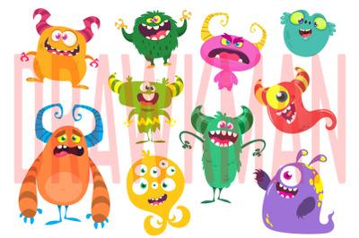 Cartoon funny monsters set  illustration. Vector