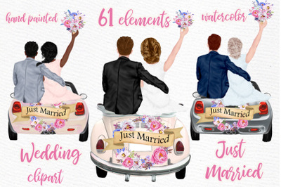 Bride and Groom clipart Wedding retro car Just married Mug